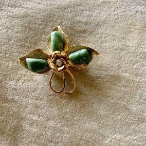 Jade Pearl Gold Filled Brooch Pendant 7 Grams
